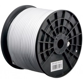 100 dB coax- antenna cable, 2x shielded, CCS, white, 100 m - Class A tested, for digital SAT- and CATV-cable systems
