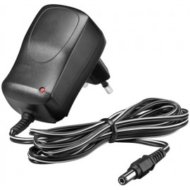 12 V Power Supply, black, 1.8 m - with 5.5 mm x 2.1 mm plug -  7.2 W and 0.6 A