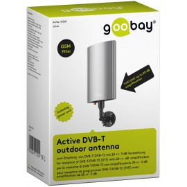 Active DVB-T outdoor antenna, incl. LTE/4G filter, grey - for reception of DVB-T / DVB-T2 HD (DTT) with 20 dB / 16 dB gain