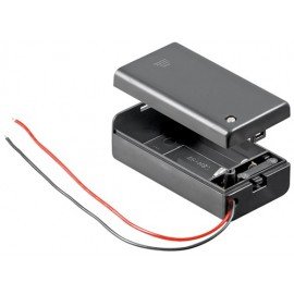 1x 9V Block battery holder, black - Loose cable ends, water-repellent