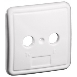 2 holes cover plate for antenna wall sockets, white - one-piece cover plate with screw