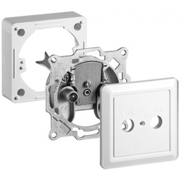 2-way antenna-wall-socket, Kit, 1 pc. in blister, white - incl.: cover + frame, terminal-type, 1 dB tap loss