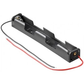 2x AA (Mignon) battery holder, black - Loose cable ends