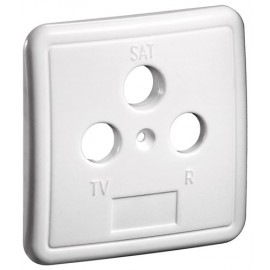 3 holes cover plate for antenna wall sockets, white - one-piece cover plate with screw