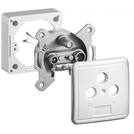3-way antenna-wall-socket set, 1 dB, DC-pass, 1 pc. in cardboard box, white - end-wall-socket incl. cover and frame
