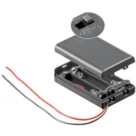 3x AAA (Micro) battery holder, Loose cable ends, black - Loose cable ends, water-repellent, switchable