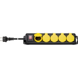 AC power strip splash-proof 3 m, 5 safety socket (Type F, CEE 7/4), black-yellow - 5 safety sockets with protective covers suitable, for outdoor use