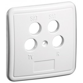 4 holes cover plate for antenna wall sockets, white - one-piece cover plate with screw