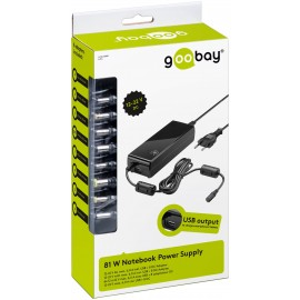 81 W notebook power supply, black, 1.6 m - incl. 1 USB and 8 DC adapter, 12 V - 22 V with max. 6 A