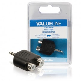 Adaptor audio 3.5 mm tata - 2x RCA mama, negru Cod EAN: 5412810214105