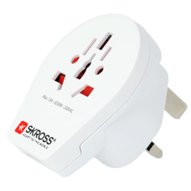 Adaptor priza universal World -> UK  cu USB Skross Cod EAN: 7640166320692<br />