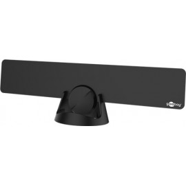 Active ultraflat full HD DVB-T room antenna, incl. LTE/4G filter, black - for reception of DVB-T / DVB-T2 HD with 30 dB gain