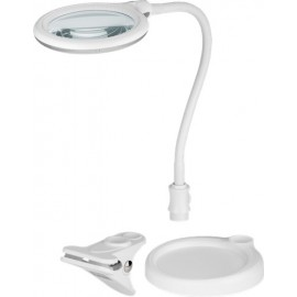 LED table and clip magnifer lamp, 6 W, white, 1.5 m - 125 mm crystal glass lens, 1.75x magnification, 3 diopters, 570 lumen