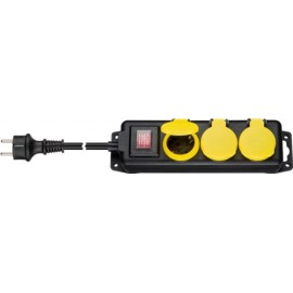 AC power strip splash-proof 3 m, 3 safety socket (Type F, CEE 7/4), black-yellow - 3 safety sockets with protective covers suitable, for outdoor use