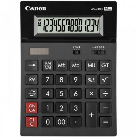 Calculator birou Canon AS2400, 14 digiti, ribbon, display LCD ajustabil, functie business, tax si conversie moneda