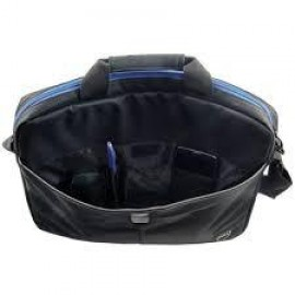 """Dell Essential Topload 15.6"""", Nylon,Padded, Single spacious compartment, additional outer pocket: pens,cellphone or wallet, Ajustable shoulder strap, Luggage strap, Black with blue accents"""
