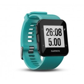 GPS Runnning Watch Garmin Forerunner 30, Turcoaz, 128 x 128 pixels; sunlight-visible, transflective memory-in-pixel (MIP); glass lens, rechargeable lithium-ion; Smart Mode: Up to 5 days, GPS mode: Up to 8 hours, Water rating: 5 ATM, Garmin Elevate wrist h