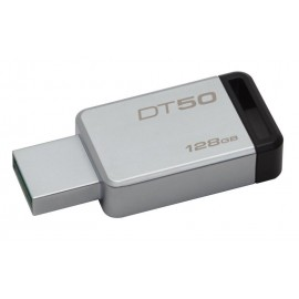 Kingston USB Flash Drive DT50/128GB- DataTraveler® 50, Speed2 USB 3.1 Gen 1 3- 110MB/s read, 15MB/s write, 128GB, Metal casing with black