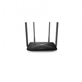 AC1200 Wireless Dual Band Gigabit Router Mercusys, AC12G; Wireless Standards: IEEE 802.11a/n/ac 5 GHz, IEEE 802.11b/g/n 2.4 GHz; Frequency: 2.4 - 2.5GHz, 5.15 - 5.85GHz; 4x Fixed Omni-Directional Antennas; Signal Rate: 300 Mbps at 2.4GHz, 867 Mbps at 5GHz