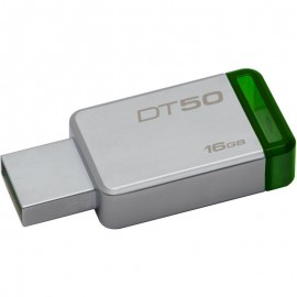 Kingston USB Flash Drive DT50/16GB- DataTraveler® 50, Speed2 USB 3.1 Gen 13- 30MB/s read, 5MB/s write, 16GB, Metal casing with green