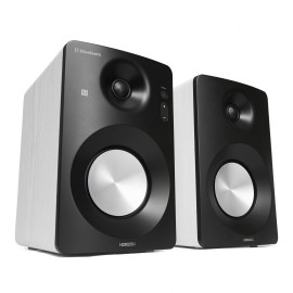 Active Hi-Fi Monitor Speakers HAV-M1100W / System 2.0  w/ Metallic Cone / 60W (30W x2) / Optical / Coaxial / AUX / USB Playback & Charger / NFC & BT 3.0 / Bass & Treble Knobs / Impedance: 8Ω x2 / White