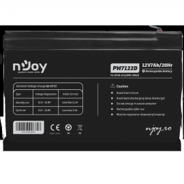 Acumulator VRLA nJoy, 12V, PW7122D, Terminal T1, Over 260 cycles, Alarm, Security systems, Cable television, Power Tools, UPS, Cycle Use: 13.6 -13.8V, Max Current: 2.1A, Capacity: 7.00Ah - 20HR.
