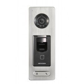 Hikvision Video Access Control Terminal, DS-K1T500S; Built-in 2 Megapixels camera; Storage with 50,000 cards and 200,000 access cont rolevents; Supports two-way audio intercom, remote live view, videorecording through NVR, Optical Fingerprint Module; Upli