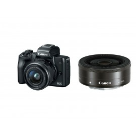 "Camera foto Canon EOS M50 Black DUAL KIT EF-M15-45 IS STM + 22mm STM 24.1 MP, DIGIC 8,ecran 3"" LCD touchscreen, WiFi, NFC, ISO 25600, filmare 4K 24fpf,Full HD 60fps, foloseste tehnologia Dual Pixel, compatibil SD/SDHC/SDXC, HDMI micro, acumulator li-"