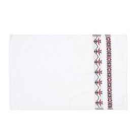 Face towel 30x50 cm with traditional border model , jaquard wave , 400 gsm