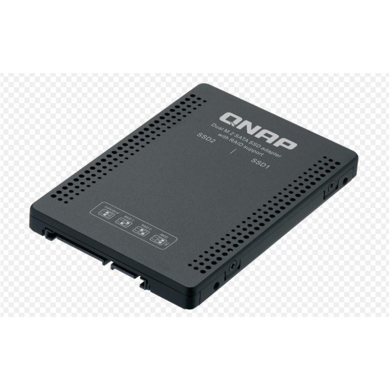 QNAP QDA-A2MAR can accommodate two M.2 SATA SSDs within a single 2.5- inch SATA drive bay. No software driver is required for the QDA-A2MAR, and it can be installed in a PC/workstation (Windows®, Linux®) or QNAP NAS to flexibly add high-performance M.2 SA