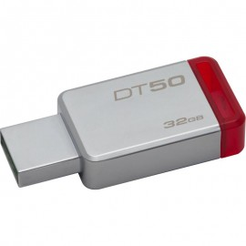 Kingston USB Flash Drive DT50/32GB- DataTraveler® 50, Speed2 USB 3.1 Gen 1 3- 110MB/s read, 15MB/s write, 32GB, Metal casing with red