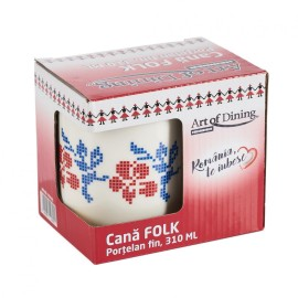 CANA PORTELAN FIN 310ML, MODEL TRADITIONAL TRANDAFIR material: NEW BON CHINA             inaltime : 9.5 cm diametru: 8 cm ambalaj cutie color
