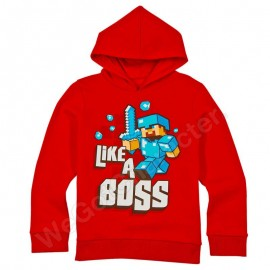 "Minecraft Hanorac ""Like a Boss"" Red 11-12 Ani 100% Bumbac"