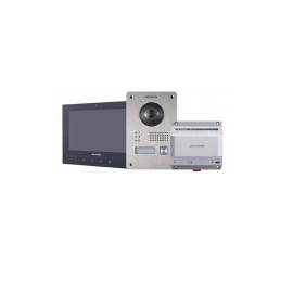 Kit videointerfon 2 fire Hikvision DS-KIS701; Kit-ul cuprinde: DS-KV8103-IME2 x1, DS-KH8340-TCE2 x1,DS-KAD709 x1; One-touch call ind oorstation; Include power supply (EU standard) for DS-KAD709;