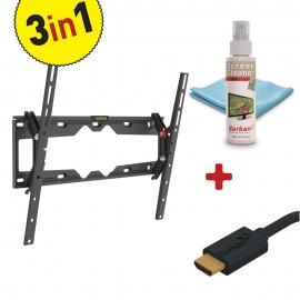 KIT Suport perete LCD/Plasma plat/curbat Barkan, Tilt + Screen Cleaner + HDMI Cable, Max. Weight:50 KG, VESA up to 400x400mm, Screen Cleaning Kit - Eco Friendly formula. 100ml / 3.4oz screen cleaner. Scratch free microfiber cloth 15x15cm, HDMI Cable - Hi