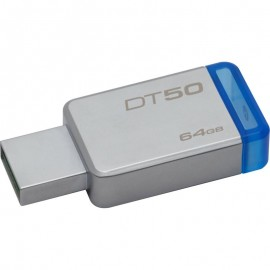 Kingston USB Flash Drive DT50/64GB- DataTraveler® 50, Speed2 USB 3.1 Gen 1 3- 110MB/s read, 15MB/s write, 64GB, Metal casing with blue