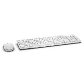 Dell Keyboard and mouse set KM636, wireless, 2.4 GHz, USB wirelessreceiver, US INT layout, Scissor Key Technology, Logitech Unifyingreceiver, battery LED indicator, Color: White