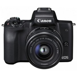 "Camera foto Canon EOS M50 Black KIT EF-M15-45 IS STM, 24.1 MP, DIGIC 8, ecran 3"" LCD touchscreen, WiFi, NFC, ISO 25600, filmare 4K 24fpf,Full HD 60fps, foloseste tehnologia Dual Pixel, compatibil SD/SDHC/SDXC, HDMI micro, acumulator li-ion LP-E12, gr"