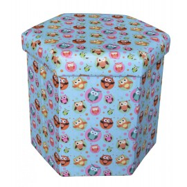Hexagonale Foldable stool- mix of designs. Material : Printed PVC+mdf. Maximum weight supported 150 kg. Product dimension : 43*38*38CM.