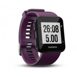GPS Runnning Watch Garmin Forerunner 30, Ametist, 128 x 128 pixels; sunlight-visible, transflective memory-in-pixel (MIP); glass lens, rechargeable lithium-ion; Smart Mode: Up to 5 days, GPS mode: Up to 8 hours, Water rating: 5 ATM, Garmin Elevate wrist h