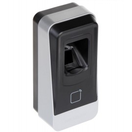 Cititor biometric si card MIFARE, Hikvision DS-K1201MF; Reads Mifare 1 card, Fingerpint (capacity: 5000); Supports RS485 (HIK private), IP65; Wall mounting with screws; The Gang Box is not supported;