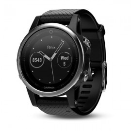 GPS Watch Garmin FENIX 5S Silver with Black Band, 218 x 218 pixels; sunlight-visible, always-on, power sensor, sunlight-visible, transflective memory-in-pixel (MIP) display, Rechargeable lithium- ion: Up to 9 days in Smart mode, up to 14 hours GPS/HR mode