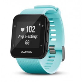 GPS Runnning Watch Garmin Forerunner 35, Frost Blue, 128 x 128 pixels; sunlight-visible, transflective memory-in-pixel (MIP); glass lens, rechargeable lithium-ion; Smart Mode: Up to 9 days, GPS mode: Up to 13 hours, Water rating: 5 ATM, Garmin Elevate wri