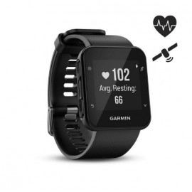 GPS Runnning Watch Garmin Forerunner 35, Black, 128 x 128 pixels; sunlight-visible, transflective memory-in-pixel (MIP); glass lens, rechargeable lithium-ion; Smart Mode: Up to 9 days, GPS mode: Up to 13 hours, Water rating: 5 ATM, Garmin Elevate wrist he